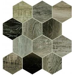 Barn Wood Grey Esagona Mix 30x30 Mosaico Porcelánico