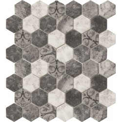 Hexagonal Stone Baroque Grey 32.4x28 Mosaico Cristal