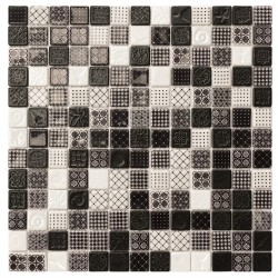 Ink Antique Black & White 33x33 Mosaico Cristal