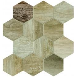 Barn Wood Beige Esagona Mix 30x30 Mosaico Porcelánico