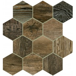 Barn Wood Brown Esagona Mix 30x30 Mosaico Porcelánico