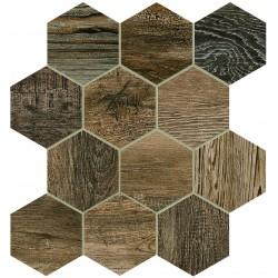Barn Wood Brown Esagona Mix 30x30 Mosaico Porcelánico
