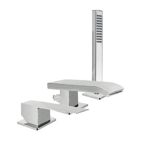 Tres Slim Exclusive Monomando bañera de repisa con caño cascada y ducha móvil Maneta