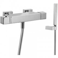 Tres Slim Exclusive Bañera-ducha termostática con cascada y con Soporte y Flexo SATIN