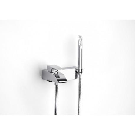 Roca Thesis Mezclador monomando exterior baño-ducha con inversor automático, ducha de mano, flexible de 1,70 m.