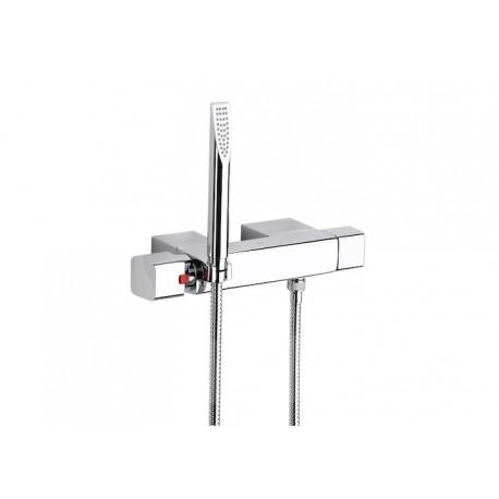 Roca Thesis Mezclador termostático exterior para ducha con ducha de mano, flexible de 1,70 m