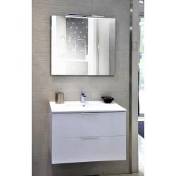 Sonia Mueble de Baño Blanco brillo 80x46 cm 2 cajones con lavabo, espejo y aplique