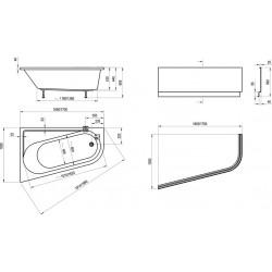 Pies para bañera Bañera Chrome Asimetrica