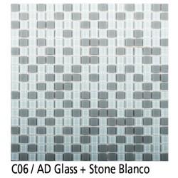 Euroshrink Mosaico Autoadhesivo C06 Stone blanco piedra+cristal