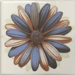 Cerámicas Ribesalbes Decor Toile Flor Crema 4 piezas 15x15