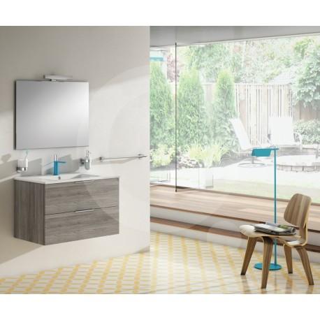 Sonia Mueble de Baño Greywood 80x46 cm 2 cajones con lavabo, espejo y aplique