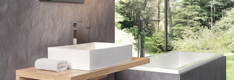 Los lavabos de la Serie Ceramic esta elaborados con cerámica de calidad, y con unas formas y ángulos que contrastan con las sobreencimeras de material macizo y resistente.